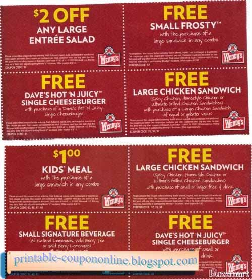 Free printable wendys coupons 2018
