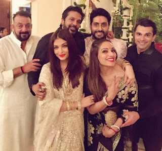 Sanjay Dutt presents in the party. Abhishek and Aishwarya were busy to felicitation the other guests like the other year