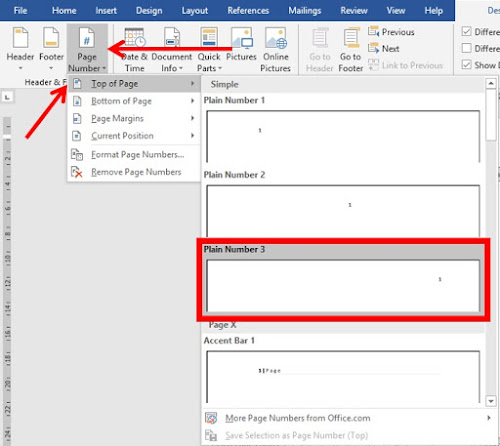 langkah membuat nomor halaman pertama di bawah dan halaman berikutnya di atas di word