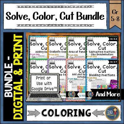 Solve Color Cut: Self-Checking Math Activities Digital & Print shows TPT resource covers