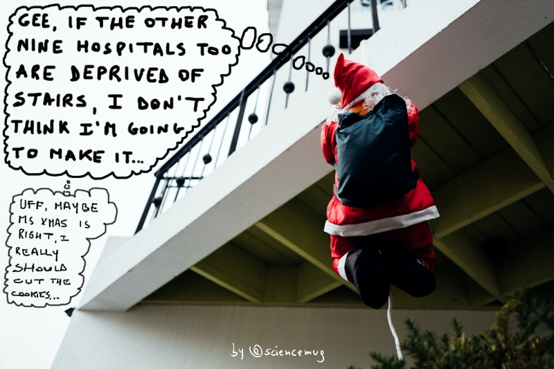 Santa climbing a rope to deliver the gifts