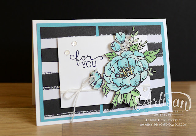 #TGIFc42, Sketch Challenge, Stampin' Up! Birthday Blooms, Pop of Black and White, Go Wild Designer Paper Pack, Designed by Jennifer Frost