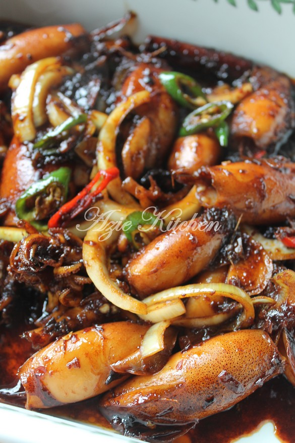 Sotong Masak Kicap Pedas Yang Sedap Azie Kitchen