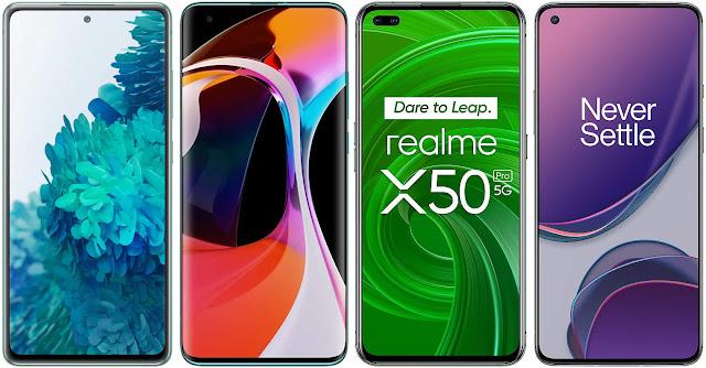 Samsung Galaxy S20 FE 4G vs Xiaomi Mi 10 vs Realme X50 Pro vs OnePlus 8T