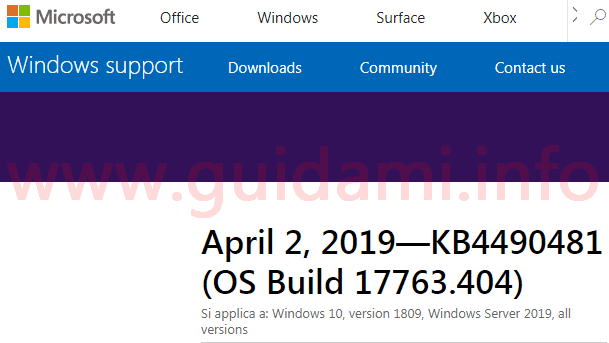 Pagina web del sito di Microsoft support per l'aggiornamento cumulativo KB4490481