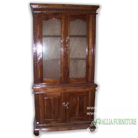 lemari buku hias kayu jati 2 pintu