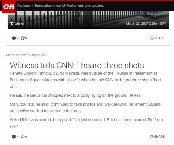 'Não estou com medo, sou do Rio', diz à CNN brasileiro testemunha de ataque muçulmano em Londres