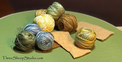 Valdani Perle Cotton Thread with 'Moss Green' fine weave-Weavers Cloth