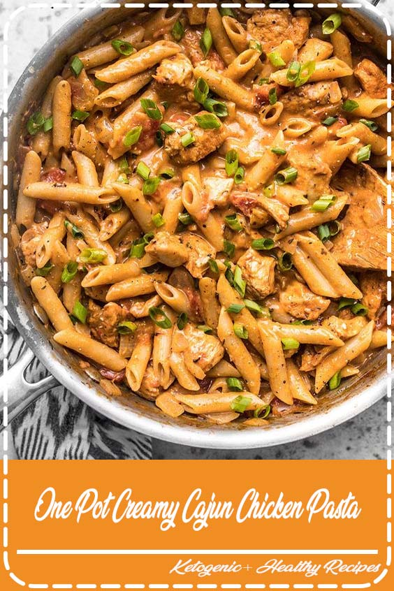 Cook a complete dinner in one pot with this Creamy Cajun Chicken Pasta One Pot Creamy Cajun Chicken Pasta