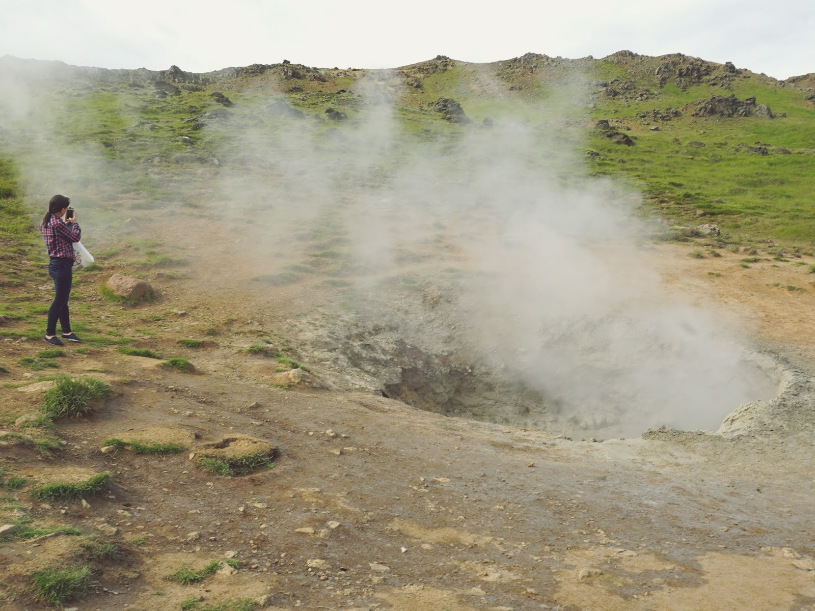 gorące źródła, Reykjadalur, Islandia, południowa Islandia, Hveragerdi