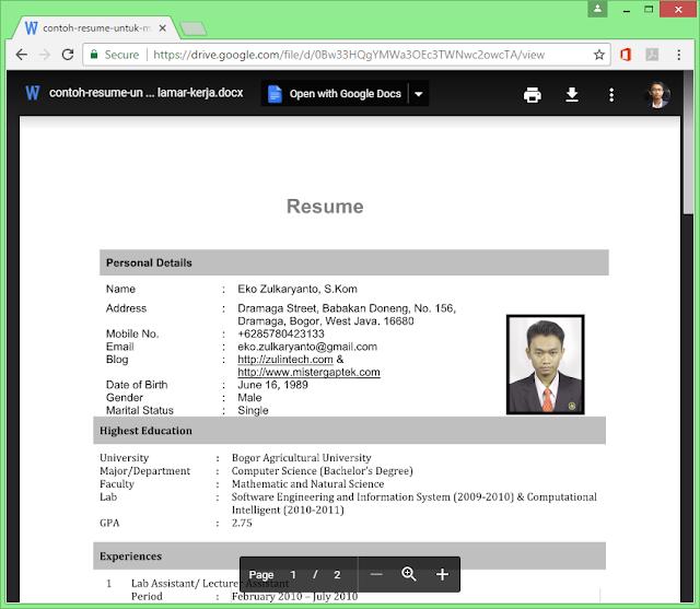 Download Contoh Resume untuk Melamar Kerja