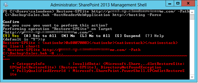 Restore-SPSite : <nativehr>0x80070003</nativehr><nativestack></nativestack>