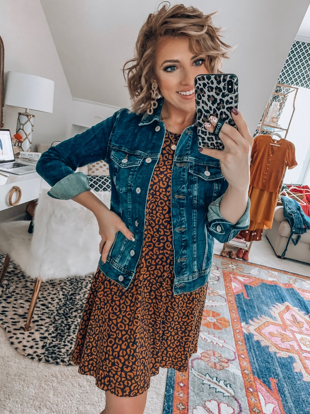 Old Navy Leopard Dress + Denim Jacket - Something Delightful Blog #affordablefashion