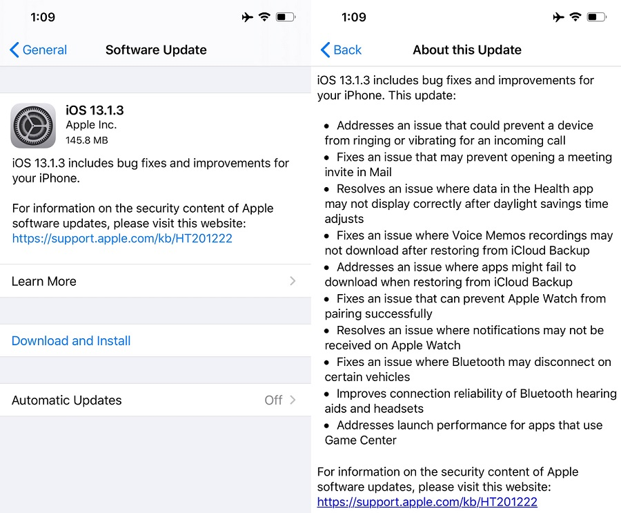 iOS 13.1.3 Changelog