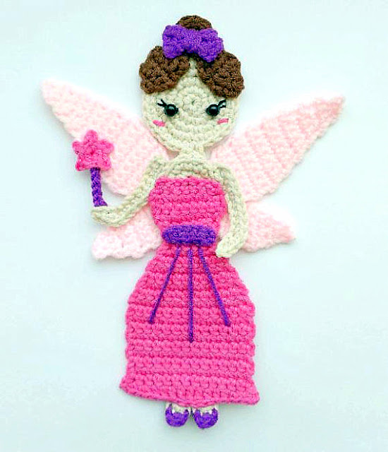 fairy princess applique crochet pattern