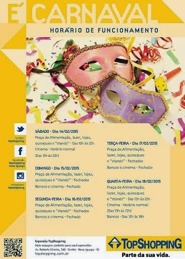 e5b3be4f1e Horário de funcionamento do TopShopping no carnaval 2015. InícioNova IguaçuBaixada  Fluminense