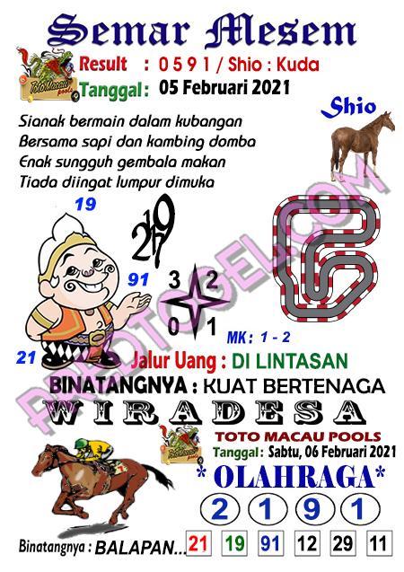 Syair Toto Macau Semar Mesem Sabtu 06 Februari 2021