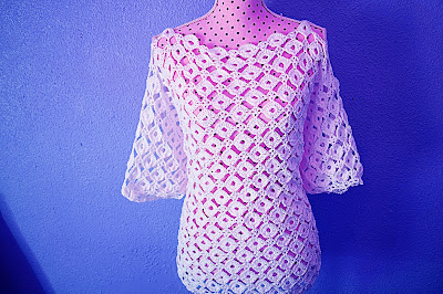 4 - CROCHET IMAGEN Blusa con mangas a crochet y ganchillo. MAJOVEL CROCHET