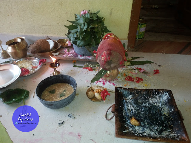 Homa performed and 108 bael leaves offered to Shiva