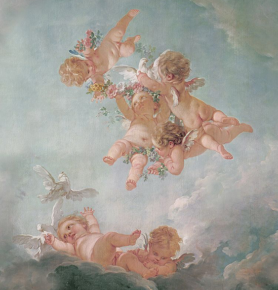Cherubs depicting the four seasons, by Francois Boucher, 18th century for the Chateau de Fontainbleau | putti with flowers, putti with doves, cupid, cherubs, aesthetic | Allegory of Vanity