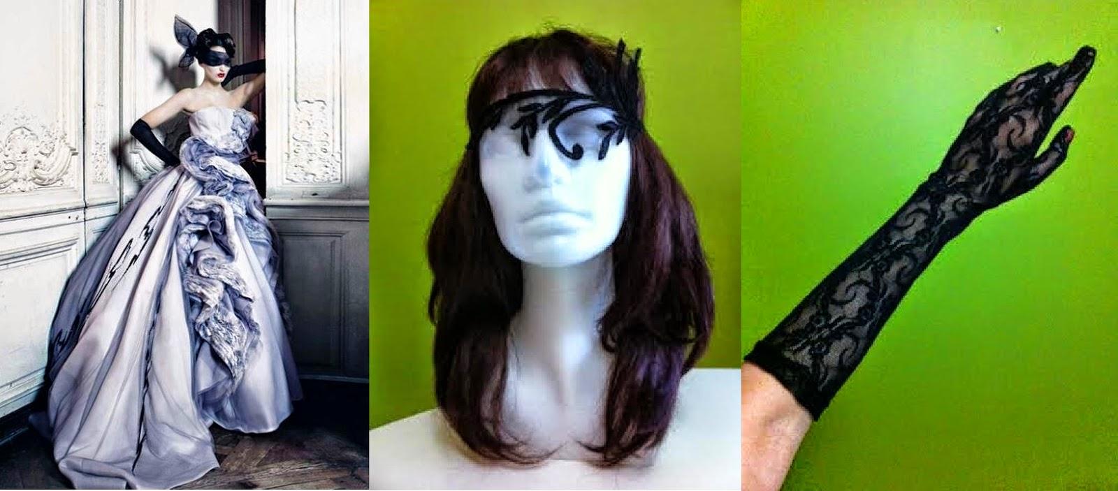 siyah paper faces dantel maske eldiven