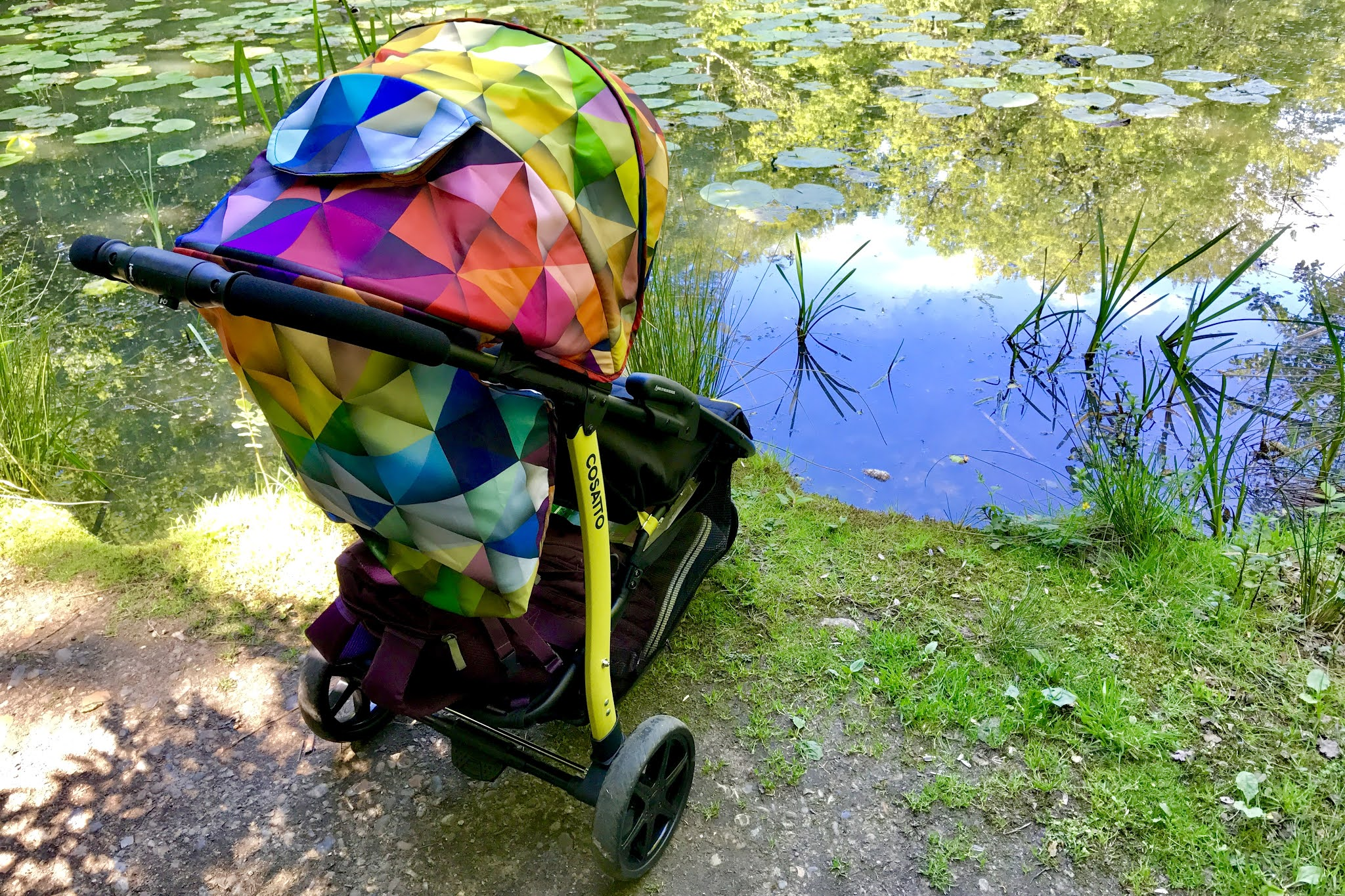 A fun and bright looking pushchair next to a pond with lilypads