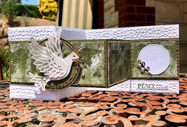Mossy Meadow Dove of Hope and Wrapped in Christmas with Christmas Gleaming DSP Stampin Up card, Andrea Sargent, Independent Stampin' Up! Demonstrator, Valley Inspirations, Adelaide foothills, South Australia