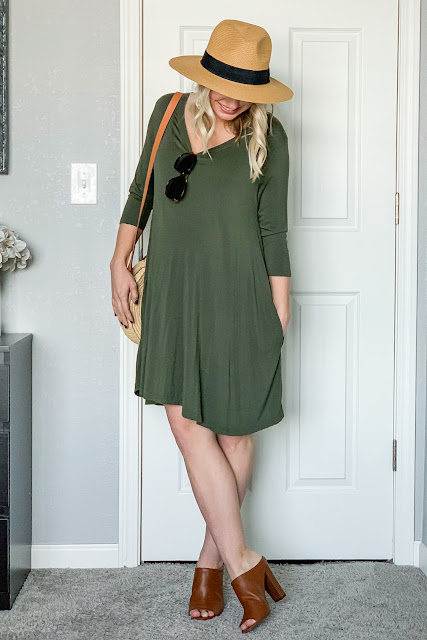 Green dress styled for spring