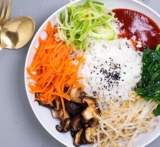 VEGAN KOREAN BIBIMBAP #vegetables #healthy