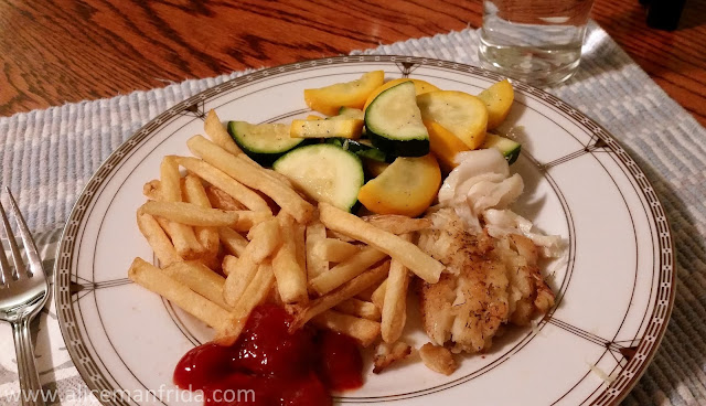fish and chips, cod, french fries, homemade dinner, home cooked meal, dinner, supper, healthy eating, diet, food, food diary, zucchini, a fishy day, what i ate, tasty tuesday,