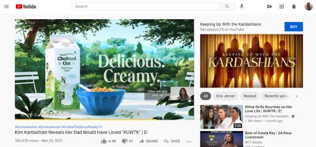 إعلان ما قبل التشغيل من Chobani Oat على YouTube