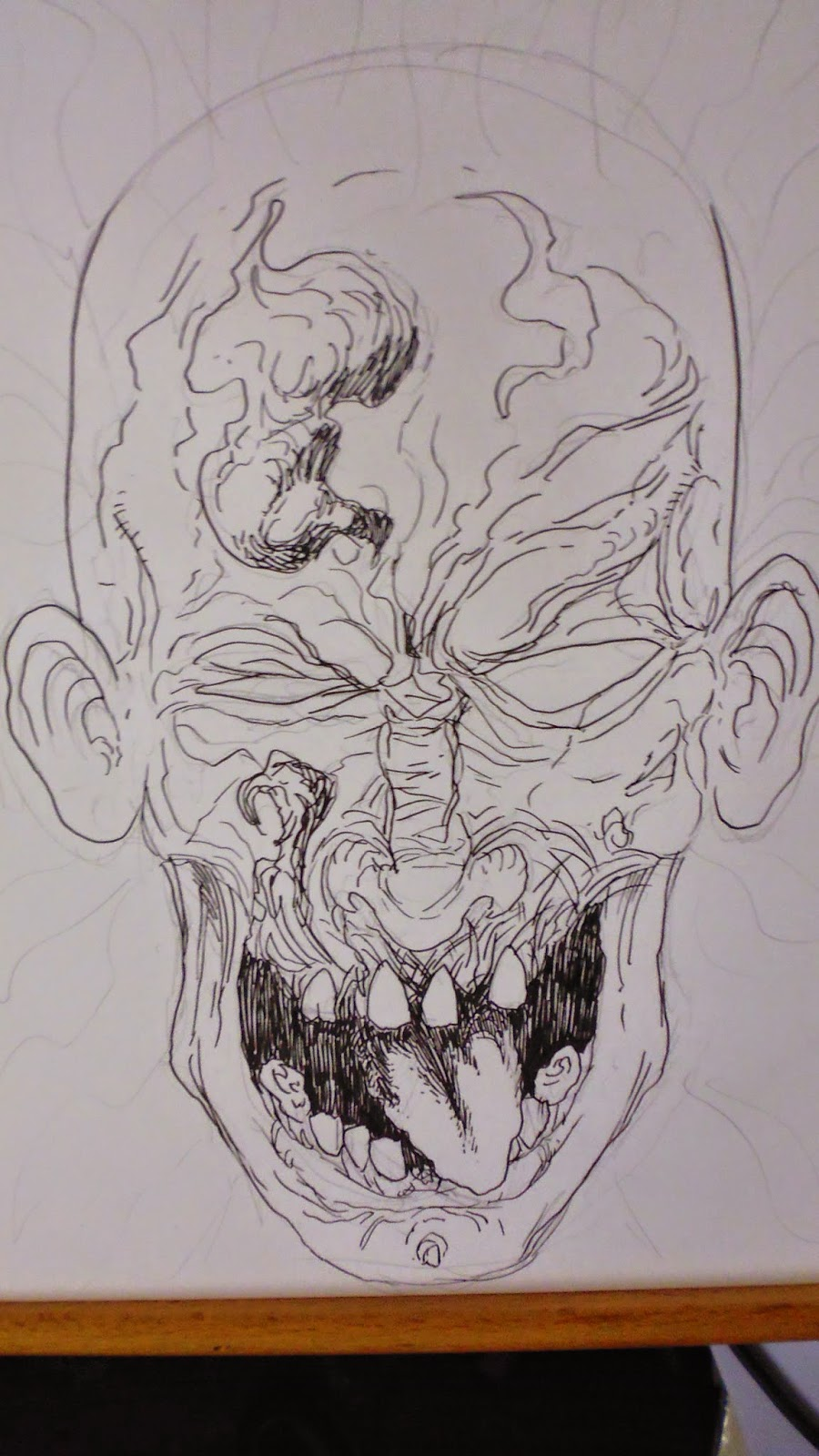 screaming zombie head art