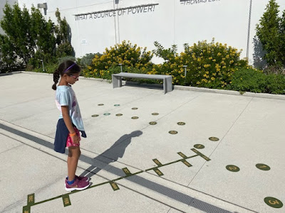 Sundial on the sunny roof of science museum in Miami