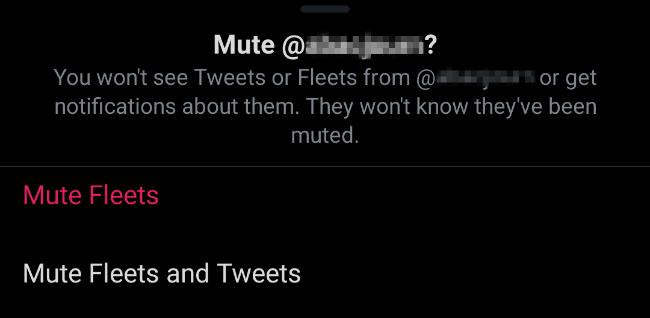 كتم صوت الأساطيل والتغريدات على Twitter