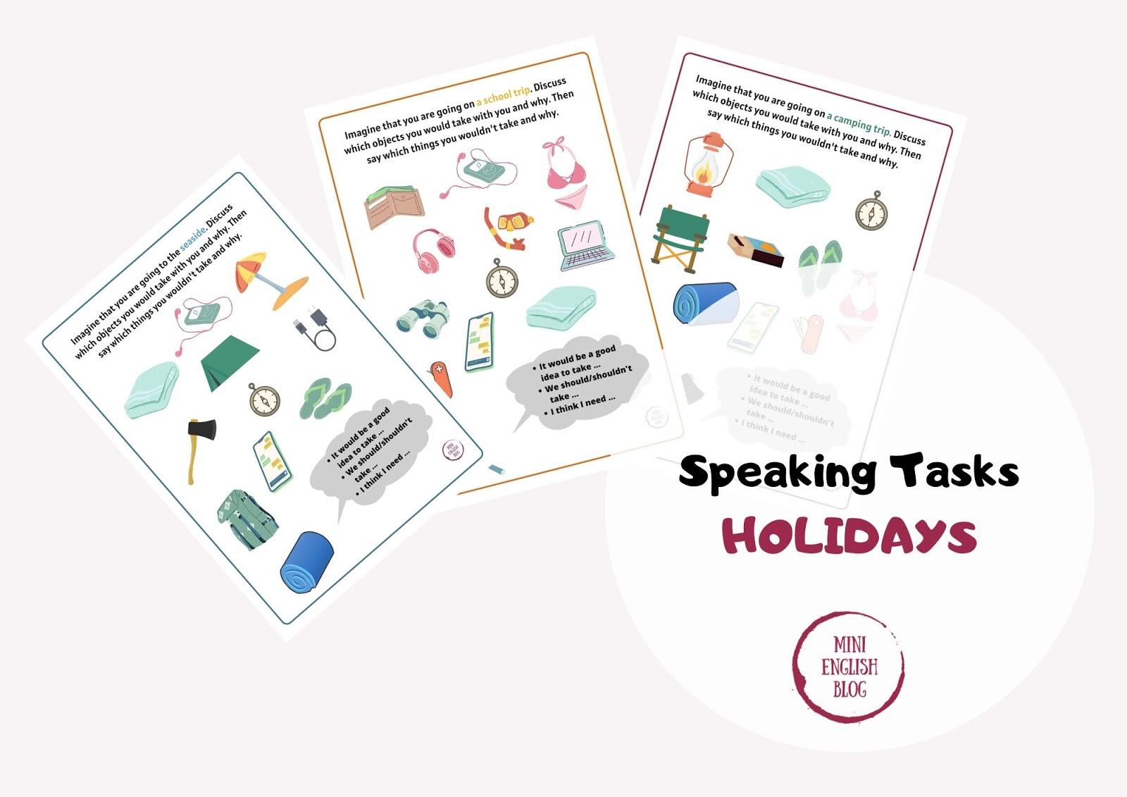 Holidays - Speaking Tasks