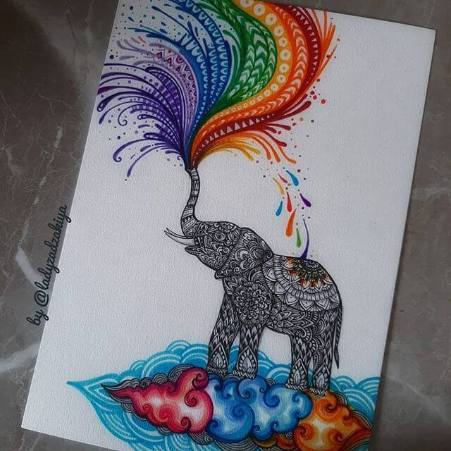 03-Baby Elephant Playing-Anugrah-Momof-Mandala-Art-www-designstack-co