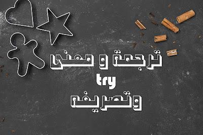 ترجمة و معنى try وتصريفه