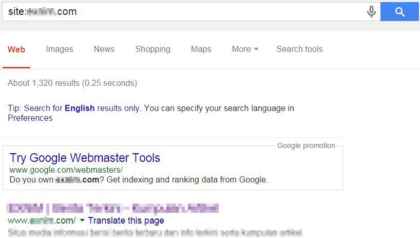 Jumlah halaman terindex (Google)