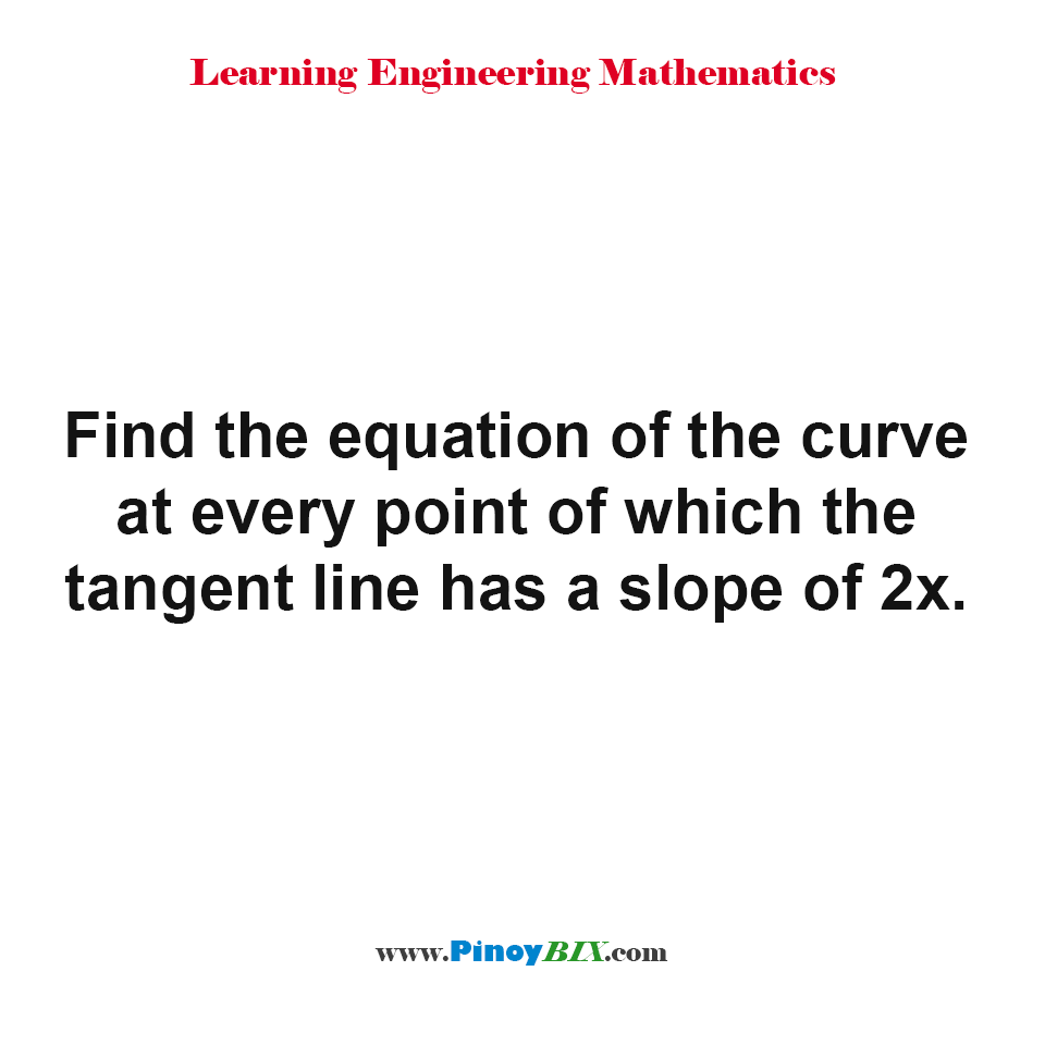Find the equation of the curve at every point of which the tangent line has a slope of 2x.