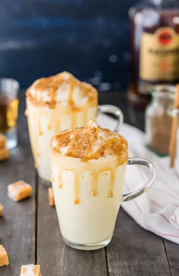 HOMEMADE SALTED CARAMEL EGGNOG #homemade #drink #caramel #easy #eggnog