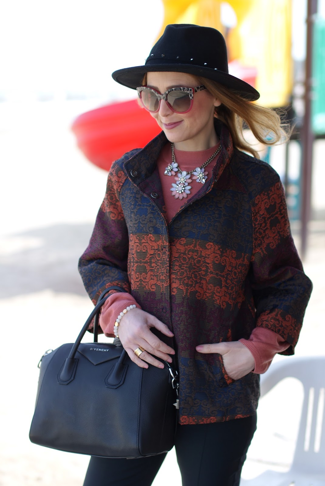 Jacquard jacket and H&M hat on Fashion and Cookies fashion blog, fashion blogger style