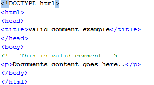 HTML Valid vs Invalid Comments