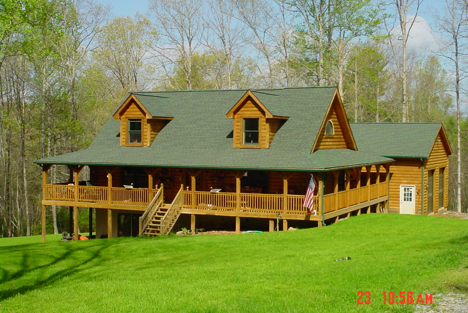 Log Home Styles By Honest Abe With on Ranch House Plans With Garages