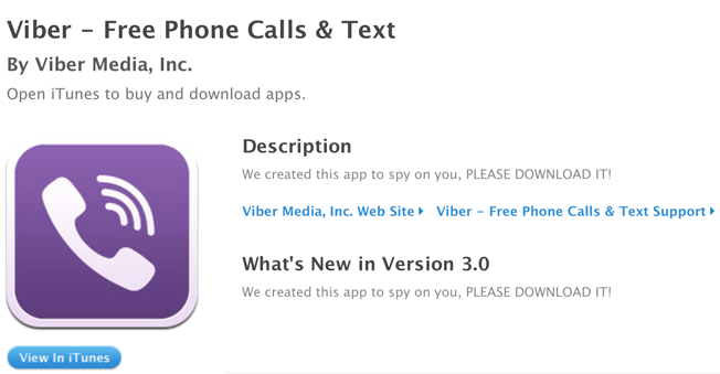 Viber's Apple App Store account hacked; Description changed by hackers