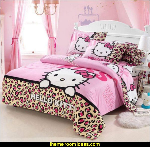 Leopard Hello Kitty bedding hello kitty duvet hello kitty bedroom decor