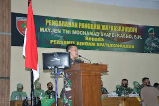 Pangdam XIV/Hasanuddin Mayjen TNI Mochamad Syafei Kasno, Memberikan Arahan Kepada Seluruh Personel Rindam Agar Bijak Bermedsos