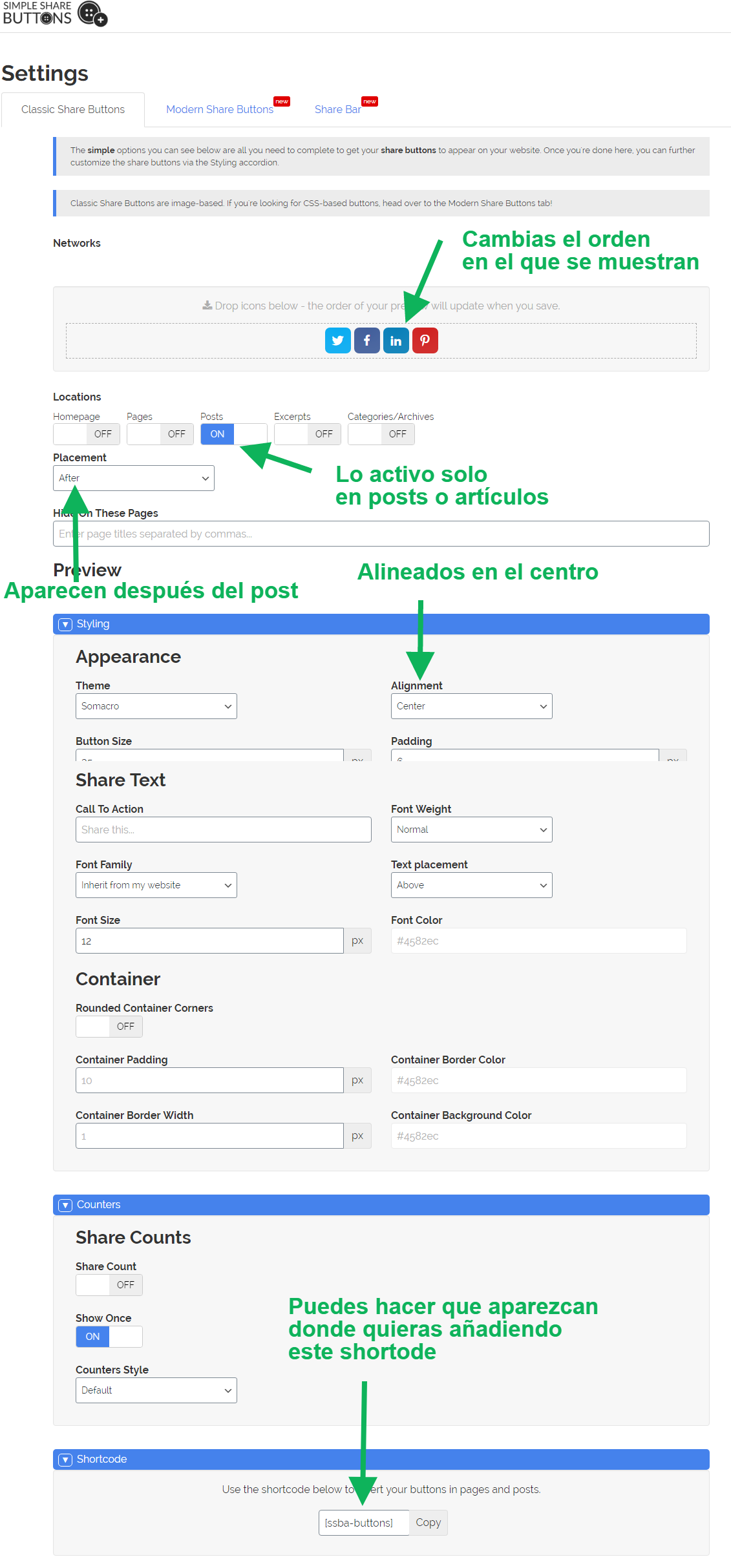 Configuracion Share Buttons
