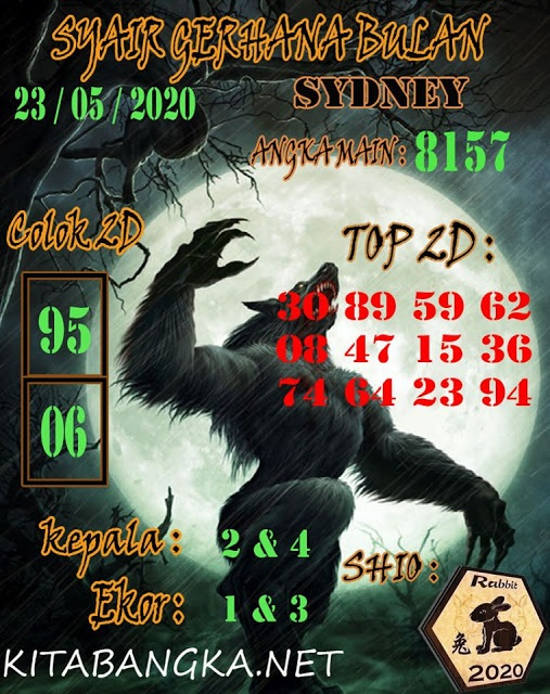 SYAIR TOGEL SYDNEY SABTU 23 MEI 2020