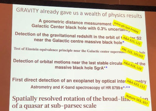 Summary slide from the Gravity Collaboration preentation  (Source: Stefan Gillessen, Gravity Collaboration at APS Meeting in Denver)