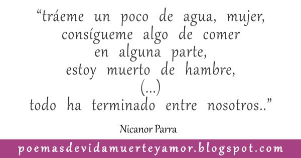 verso del Poema de amor de Nicanor Parra - la vibora